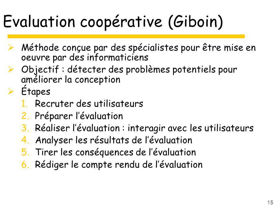 15 Evaluation coopérative (Giboin) Méthode conçue par des spécialistes pour être mise en oeuvre par des informaticiens Objectif : détecter des problèm