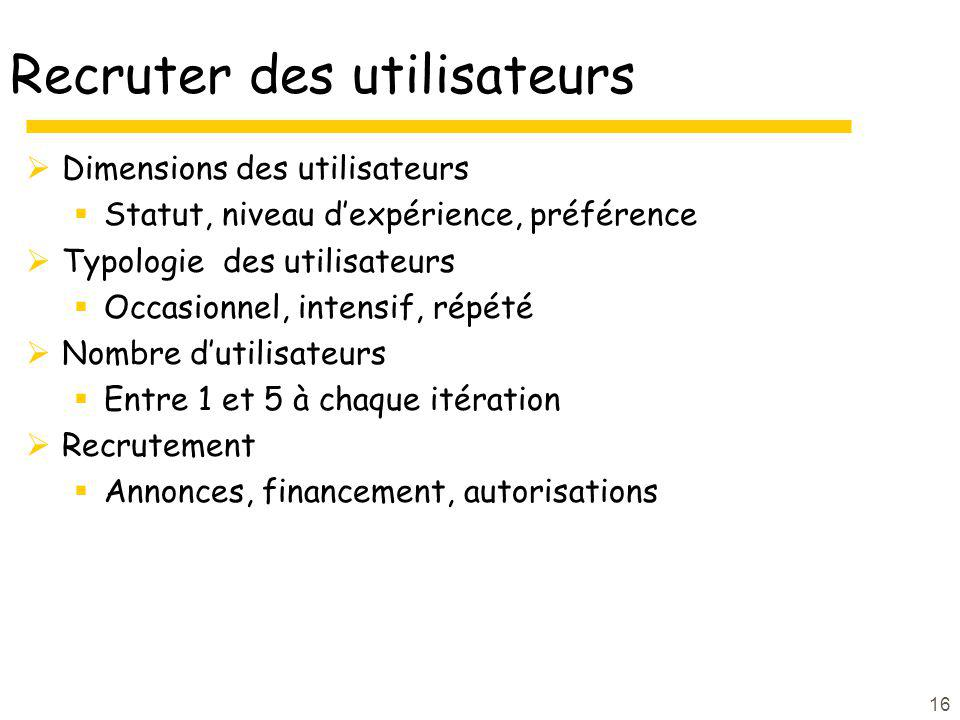 16 Recruter des utilisateurs Dimensions des utilisateurs Statut, niveau dexpérience, préférence Typologie des utilisateurs Occasionnel, intensif, répé