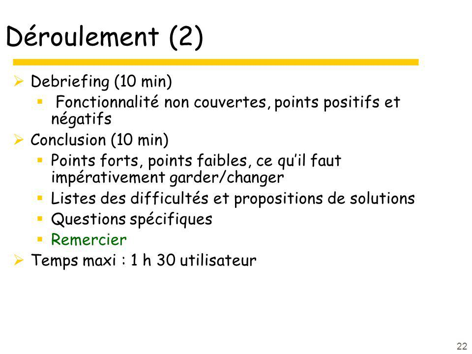 22 Déroulement (2) Debriefing (10 min) Fonctionnalité non couvertes, points positifs et négatifs Conclusion (10 min) Points forts, points faibles, ce