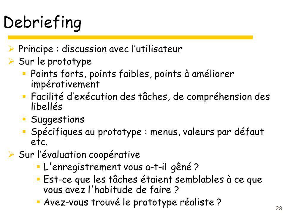 28 Debriefing Principe : discussion avec lutilisateur Sur le prototype Points forts, points faibles, points à améliorer impérativement Facilité dexécu