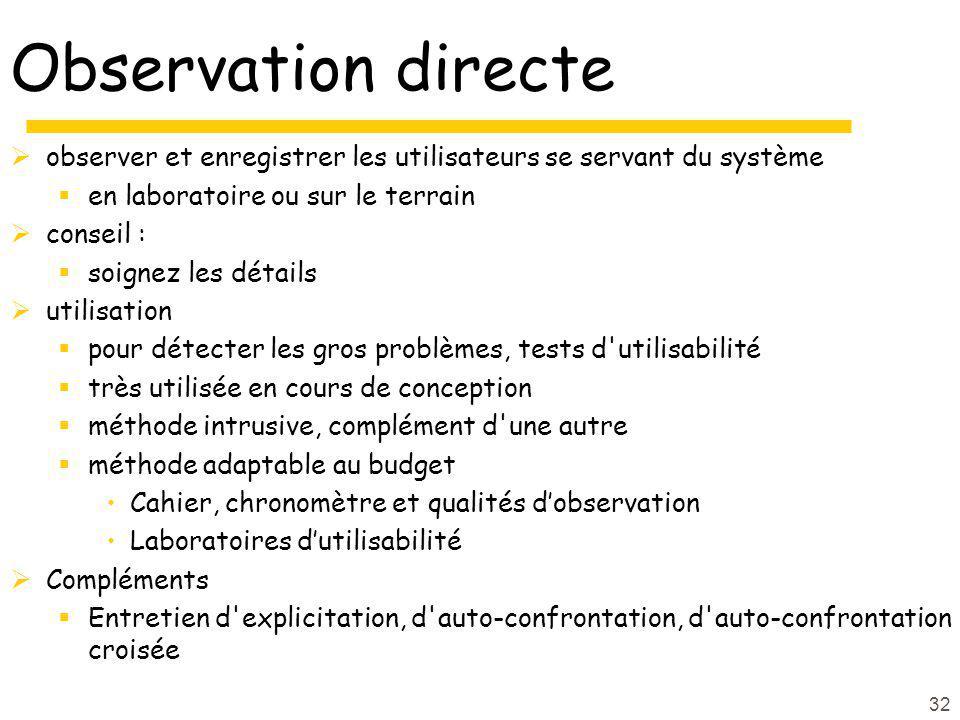32 Observation directe observer et enregistrer les utilisateurs se servant du système en laboratoire ou sur le terrain conseil : soignez les détails u