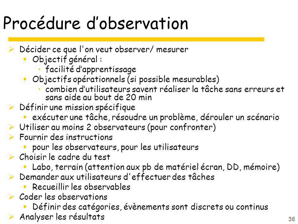36 Procédure dobservation Décider ce que l'on veut observer/ mesurer Objectif général : facilité dapprentissage Objectifs opérationnels (si possible m