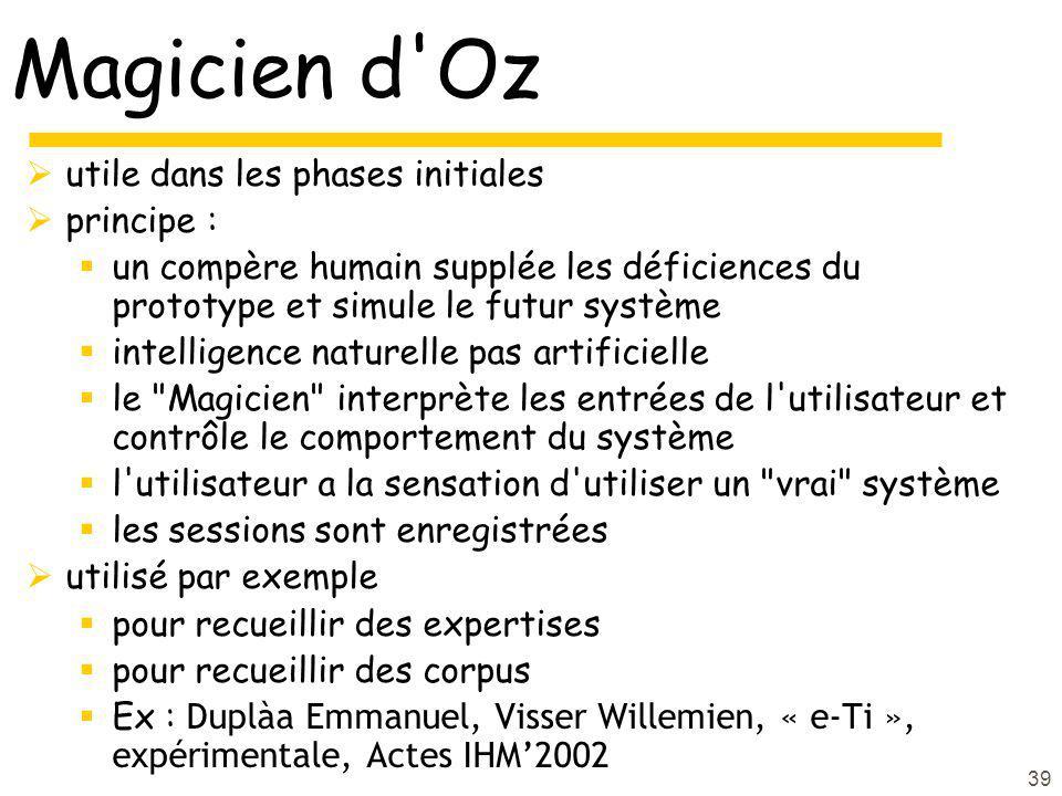 39 Magicien d'Oz utile dans les phases initiales principe : un compère humain supplée les déficiences du prototype et simule le futur système intellig