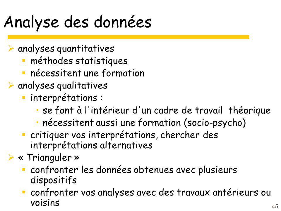 45 Analyse des données analyses quantitatives méthodes statistiques nécessitent une formation analyses qualitatives interprétations : se font à l'inté