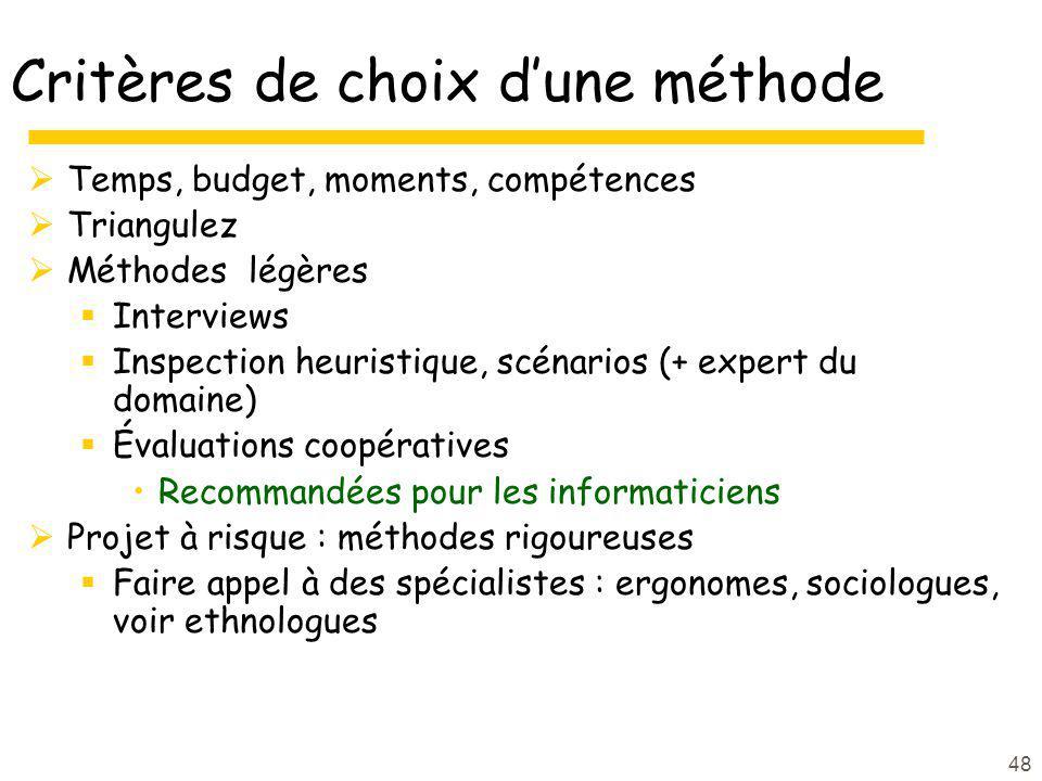 48 Critères de choix dune méthode Temps, budget, moments, compétences Triangulez Méthodes légères Interviews Inspection heuristique, scénarios (+ expe