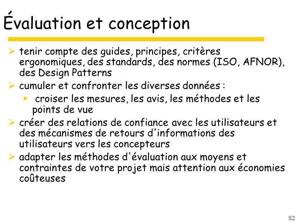52 Évaluation et conception tenir compte des guides, principes, critères ergonomiques, des standards, des normes (ISO, AFNOR), des Design Patterns cum
