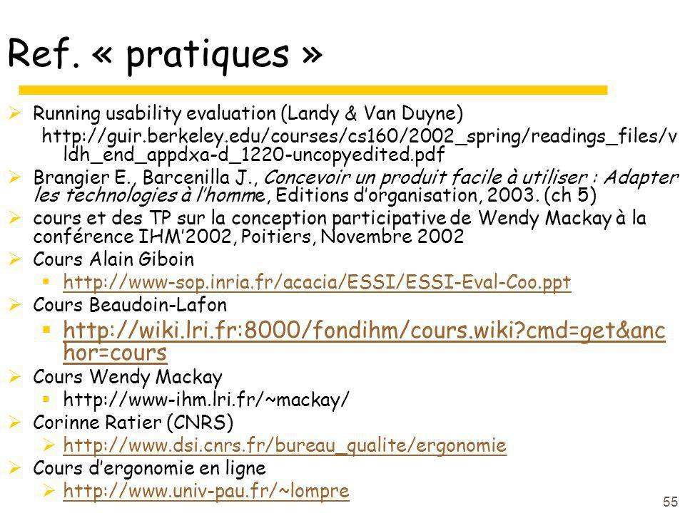 55 Ref. « pratiques » Running usability evaluation (Landy & Van Duyne) http://guir.berkeley.edu/courses/cs160/2002_spring/readings_files/v ldh_end_app