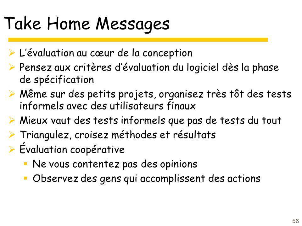 56 Take Home Messages Lévaluation au cœur de la conception Pensez aux critères dévaluation du logiciel dès la phase de spécification Même sur des peti