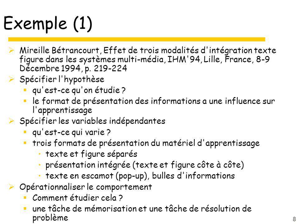 8 Exemple (1) Mireille Bétrancourt, Effet de trois modalités d'intégration texte figure dans les systèmes multi-média, IHM'94, Lille, France, 8-9 Déce