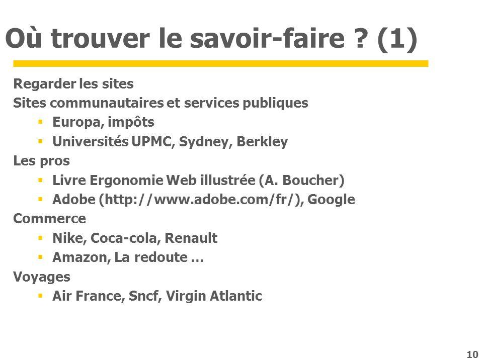 10 Où trouver le savoir-faire ? (1) Regarder les sites Sites communautaires et services publiques Europa, impôts Universités UPMC, Sydney, Berkley Les