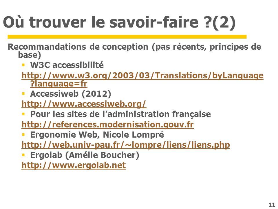 11 Où trouver le savoir-faire ?(2) Recommandations de conception (pas récents, principes de base) W3C accessibilité http://www.w3.org/2003/03/Translat
