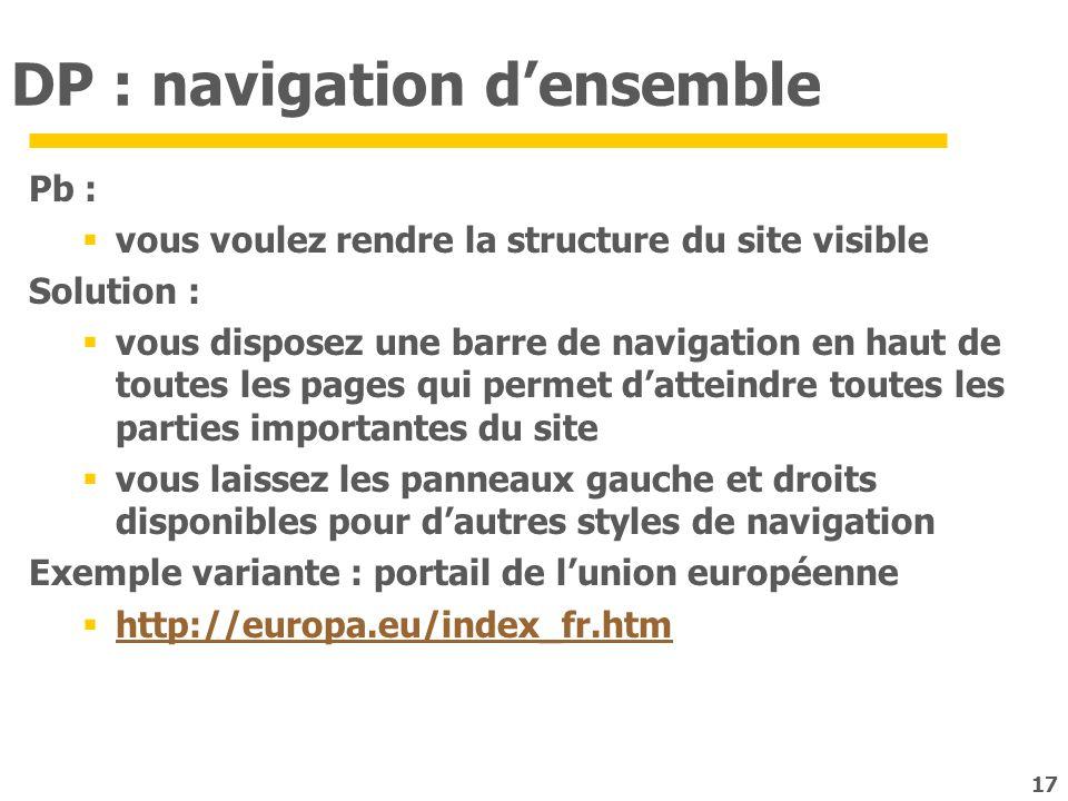 17 DP : navigation densemble Pb : vous voulez rendre la structure du site visible Solution : vous disposez une barre de navigation en haut de toutes l