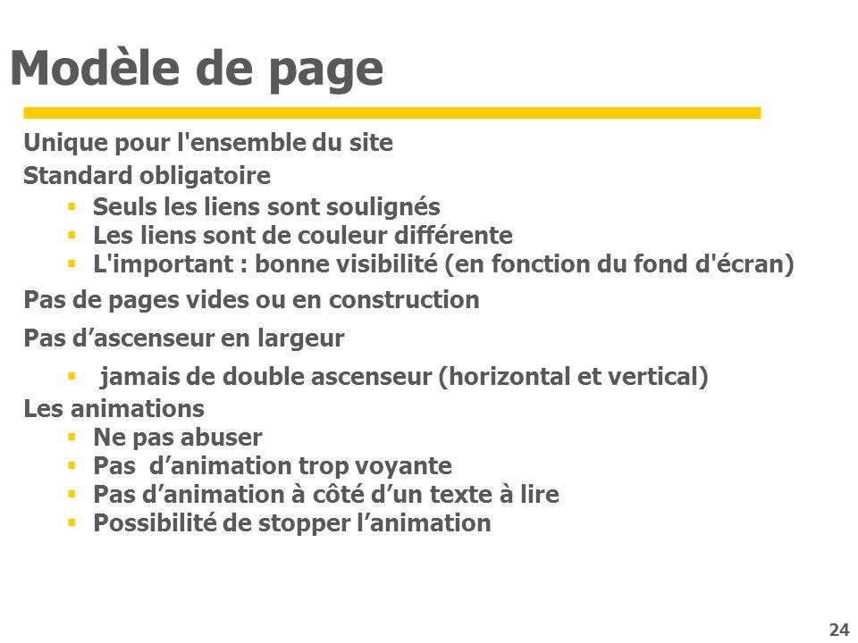 24 Modèle de page Unique pour l'ensemble du site Standard obligatoire Seuls les liens sont soulignés Les liens sont de couleur différente L'important