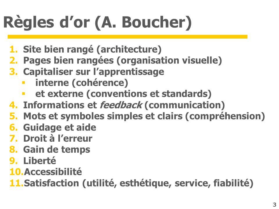 Règles dor (A. Boucher) 1.Site bien rangé (architecture) 2.Pages bien rangées (organisation visuelle) 3.Capitaliser sur lapprentissage interne (cohére