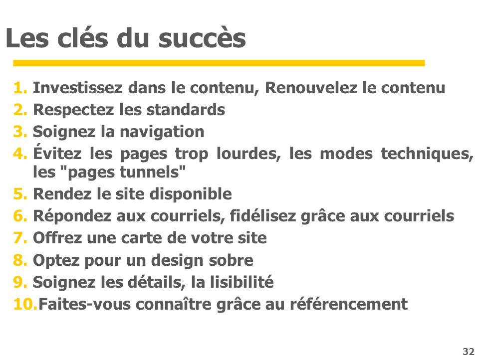 32 Les clés du succès 1.Investissez dans le contenu, Renouvelez le contenu 2.Respectez les standards 3.Soignez la navigation 4.Évitez les pages trop l