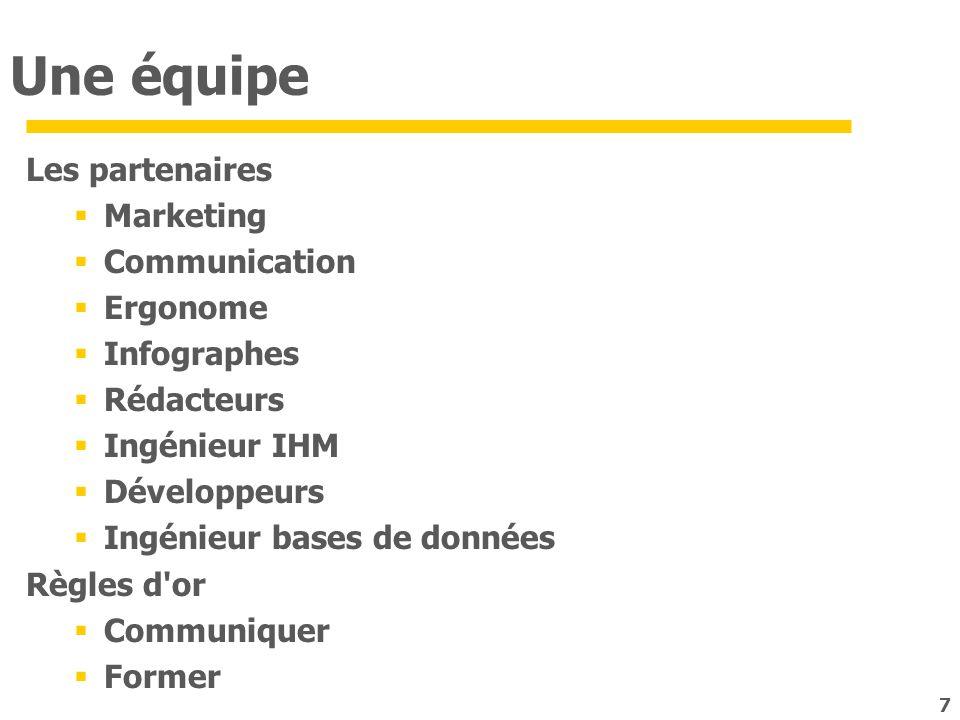 7 Une équipe Les partenaires Marketing Communication Ergonome Infographes Rédacteurs Ingénieur IHM Développeurs Ingénieur bases de données Règles d'or