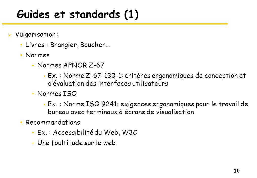 10 Guides et standards (1) Vulgarisation : Livres : Brangier, Boucher… Normes –Normes AFNOR Z-67 s Ex. : Norme Z-67-133-1: critères ergonomiques de co