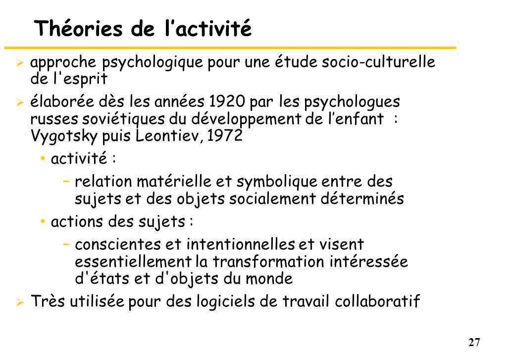 27 Théories de lactivité approche psychologique pour une étude socio-culturelle de l'esprit élaborée dès les années 1920 par les psychologues russes s