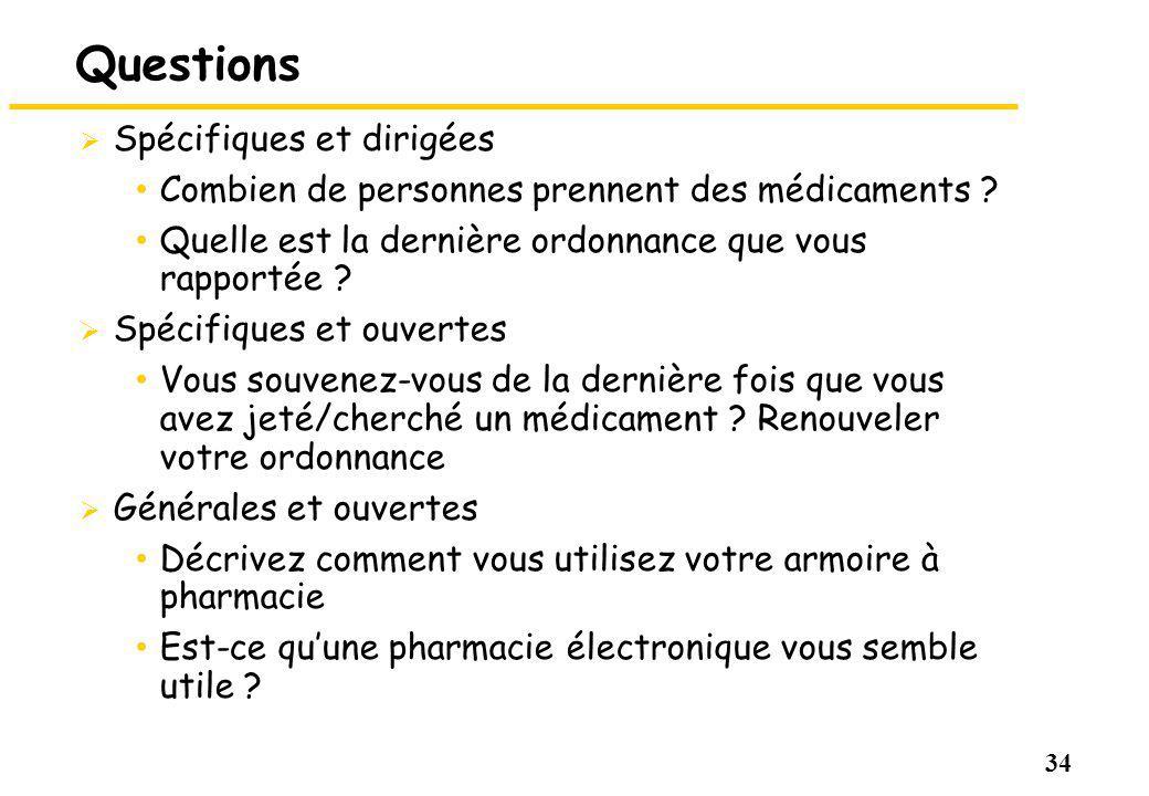 34 Questions Spécifiques et dirigées Combien de personnes prennent des médicaments ? Quelle est la dernière ordonnance que vous rapportée ? Spécifique