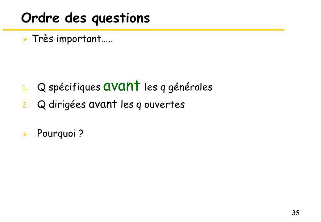 35 Ordre des questions Très important….. 1. Q spécifiques avant les q générales 2. Q dirigées avant les q ouvertes Pourquoi ?