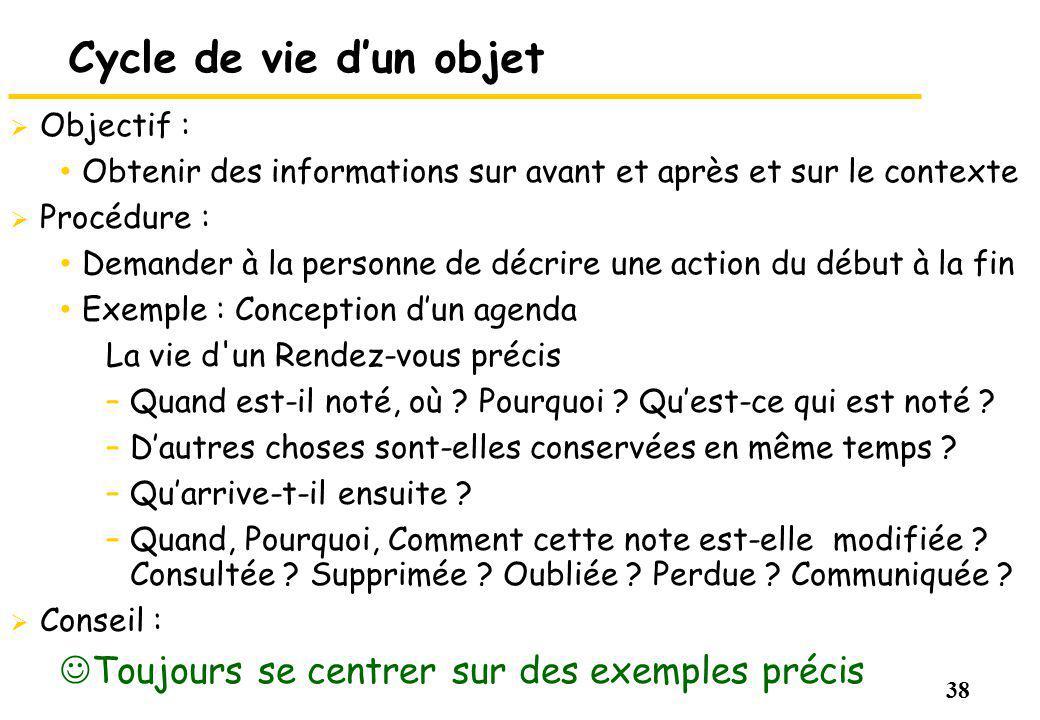 38 Cycle de vie dun objet Objectif : Obtenir des informations sur avant et après et sur le contexte Procédure : Demander à la personne de décrire une