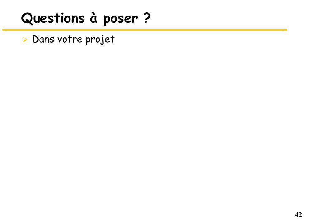 42 Questions à poser ? Dans votre projet