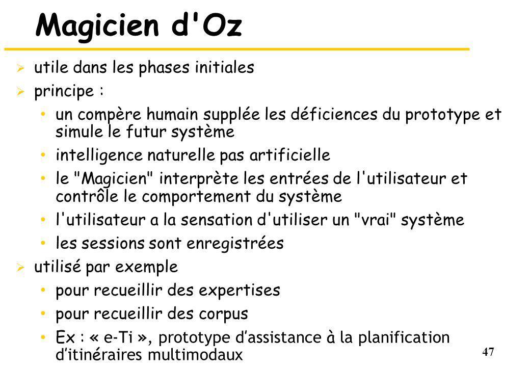 47 Magicien d'Oz utile dans les phases initiales principe : un compère humain supplée les déficiences du prototype et simule le futur système intellig