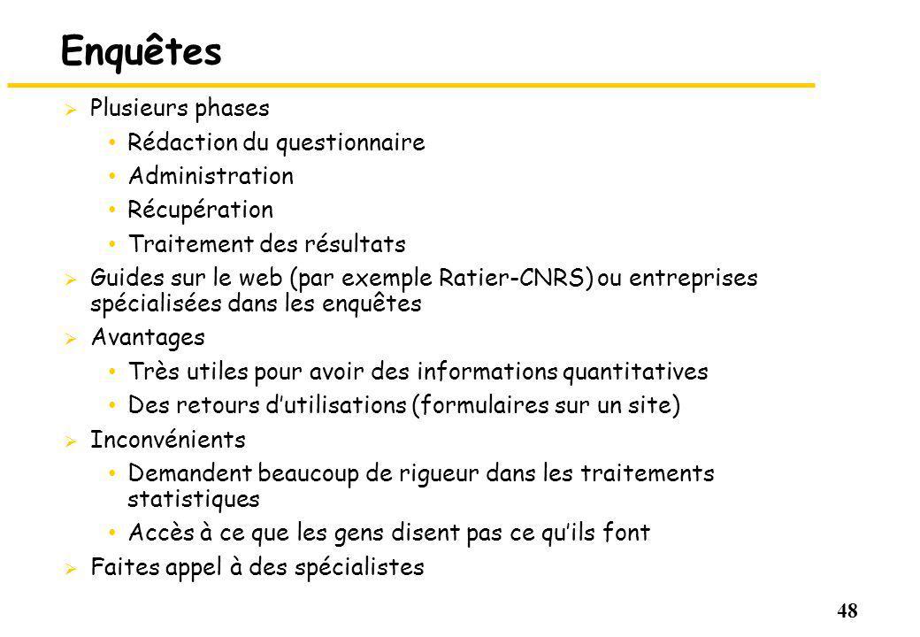 48 Enquêtes Plusieurs phases Rédaction du questionnaire Administration Récupération Traitement des résultats Guides sur le web (par exemple Ratier-CNR