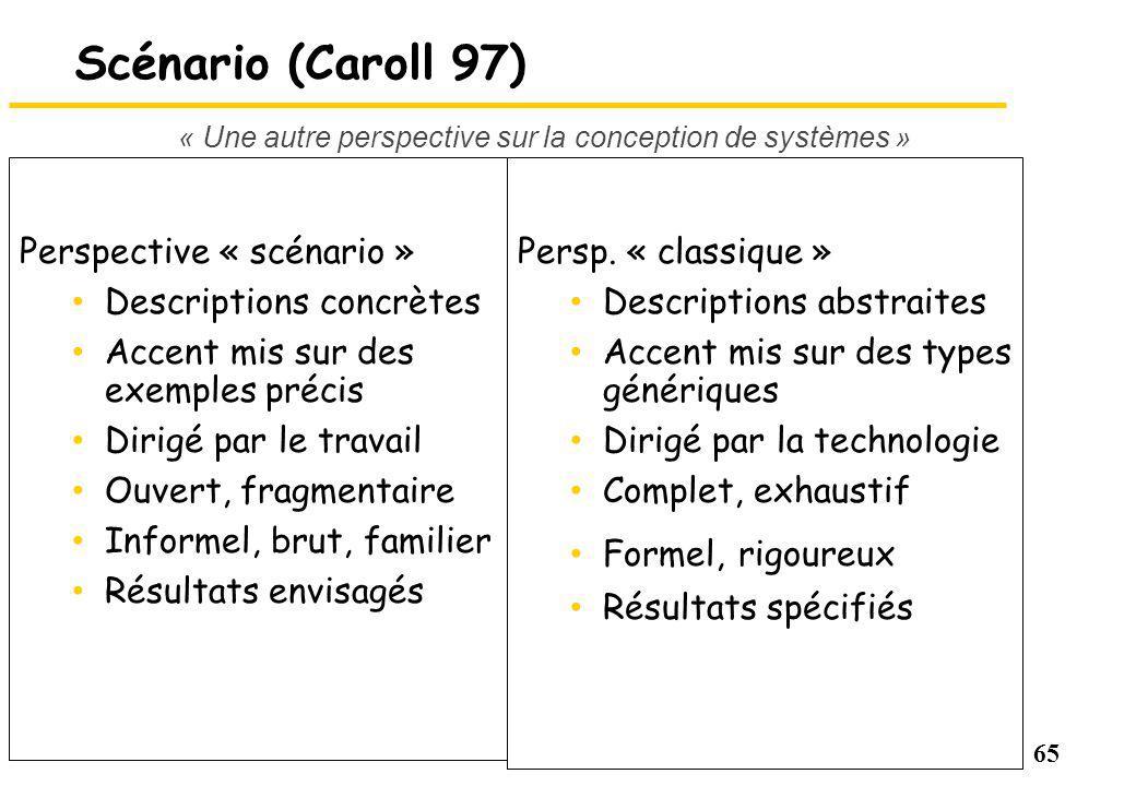65 Scénario (Caroll 97) Perspective « scénario » Descriptions concrètes Accent mis sur des exemples précis Dirigé par le travail Ouvert, fragmentaire