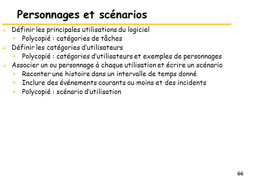 66 Personnages et scénarios Définir les principales utilisations du logiciel Polycopié : catégories de tâches Définir les catégories dutilisateurs Pol