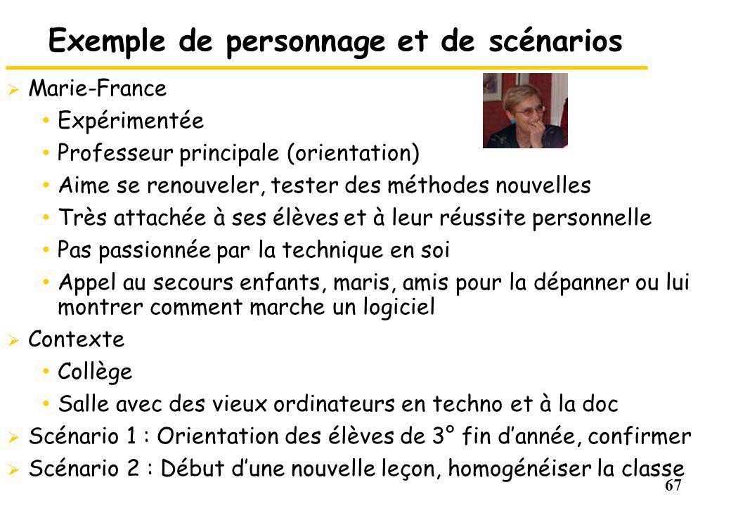 67 Exemple de personnage et de scénarios Marie-France Expérimentée Professeur principale (orientation) Aime se renouveler, tester des méthodes nouvell