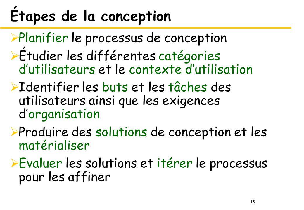15 Étapes de la conception Planifier le processus de conception Étudier les différentes catégories dutilisateurs et le contexte dutilisation Identifie