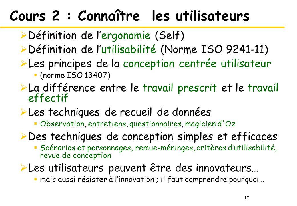 17 Cours 2 : Connaître les utilisateurs Définition de lergonomie (Self) Définition de lutilisabilité (Norme ISO 9241-11) Les principes de la conceptio