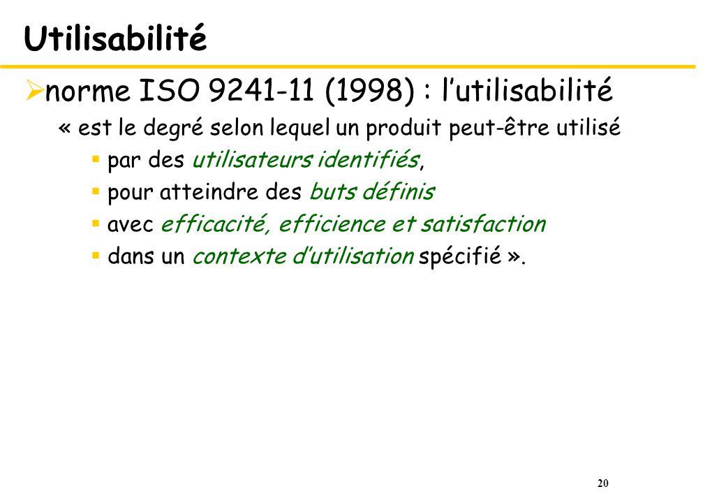 20 Utilisabilité norme ISO 9241-11 (1998) : lutilisabilité « est le degré selon lequel un produit peut-être utilisé par des utilisateurs identifiés, p