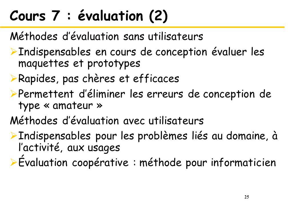 25 Cours 7 : évaluation (2) Méthodes dévaluation sans utilisateurs Indispensables en cours de conception évaluer les maquettes et prototypes Rapides,