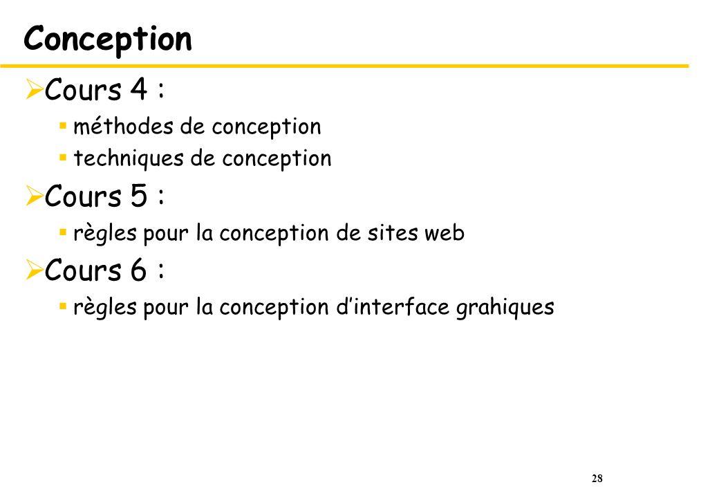 28 Conception Cours 4 : méthodes de conception techniques de conception Cours 5 : règles pour la conception de sites web Cours 6 : règles pour la conc