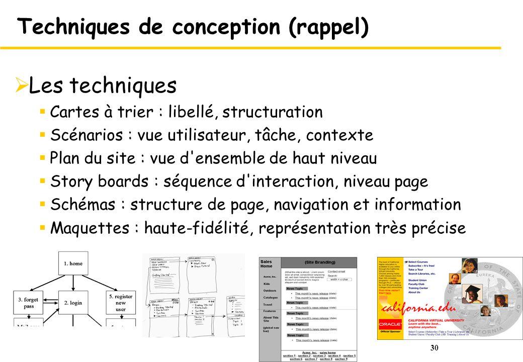 30 Techniques de conception (rappel) Les techniques Cartes à trier : libellé, structuration Scénarios : vue utilisateur, tâche, contexte Plan du site