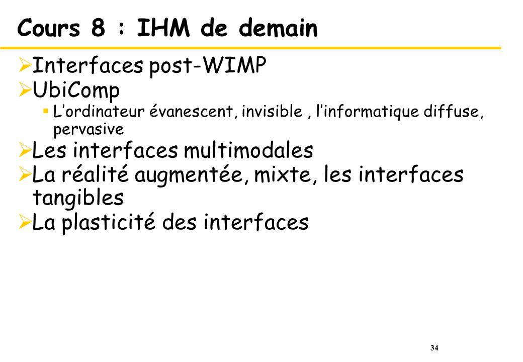 34 Cours 8 : IHM de demain Interfaces post-WIMP UbiComp Lordinateur évanescent, invisible, linformatique diffuse, pervasive Les interfaces multimodale
