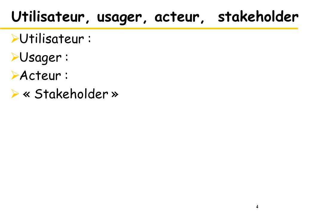 4 Utilisateur, usager, acteur, stakeholder Utilisateur : Usager : Acteur : « Stakeholder »