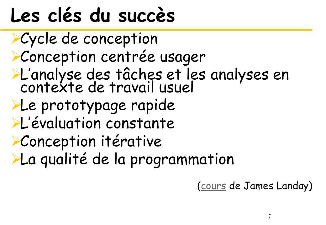 7 Les clés du succès Cycle de conception Conception centrée usager Lanalyse des tâches et les analyses en contexte de travail usuel Le prototypage rap