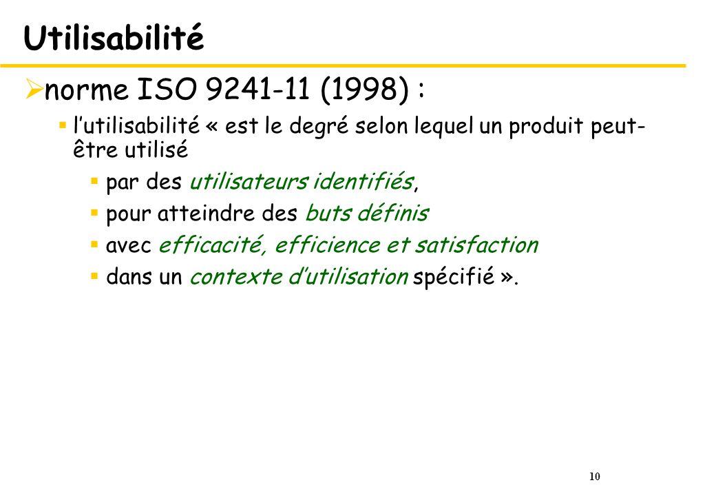 10 Utilisabilité norme ISO 9241-11 (1998) : lutilisabilité « est le degré selon lequel un produit peut- être utilisé par des utilisateurs identifiés, pour atteindre des buts définis avec efficacité, efficience et satisfaction dans un contexte dutilisation spécifié ».