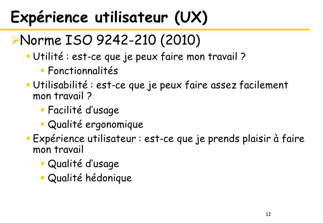 12 Expérience utilisateur (UX) Norme ISO 9242-210 (2010) Utilité : est-ce que je peux faire mon travail .