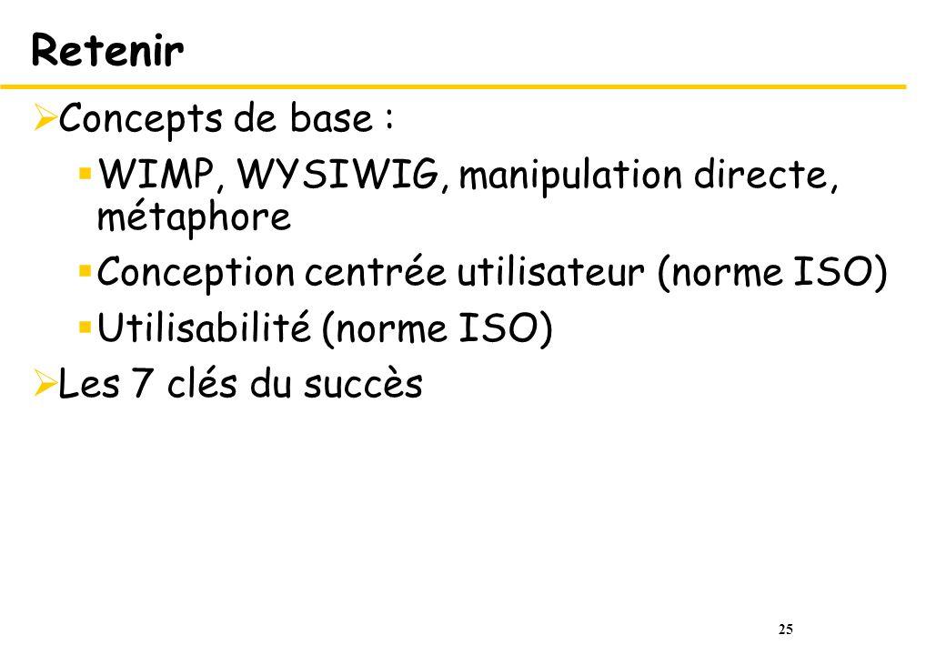 25 Retenir Concepts de base : WIMP, WYSIWIG, manipulation directe, métaphore Conception centrée utilisateur (norme ISO) Utilisabilité (norme ISO) Les 7 clés du succès