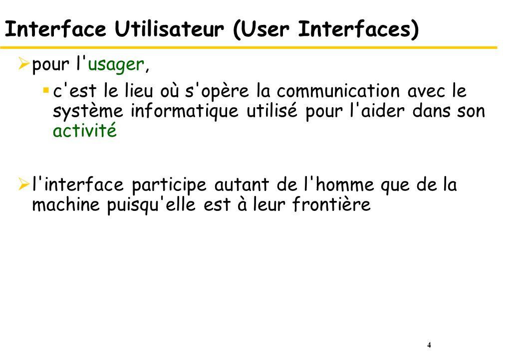 4 Interface Utilisateur (User Interfaces) pour l usager, c est le lieu où s opère la communication avec le système informatique utilisé pour l aider dans son activité l interface participe autant de l homme que de la machine puisqu elle est à leur frontière