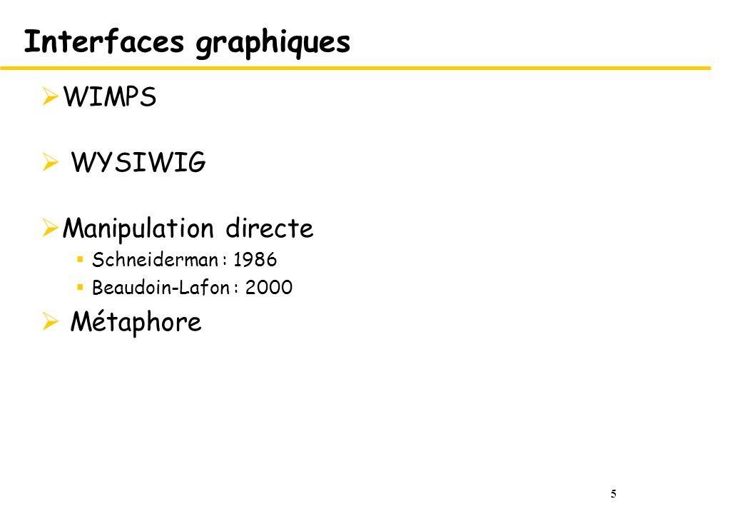 5 Interfaces graphiques WIMPS WYSIWIG Manipulation directe Schneiderman : 1986 Beaudoin-Lafon : 2000 Métaphore