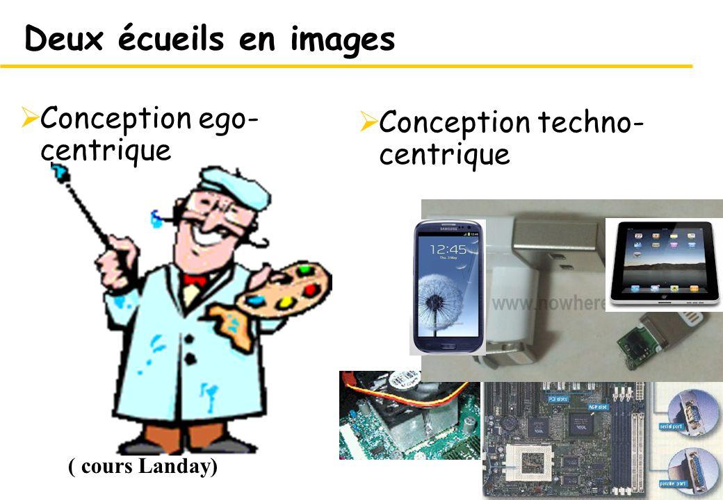 7 Conception techno- centrique 7 Deux écueils en images Conception ego- centrique ( cours Landay)