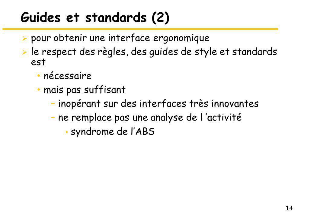 14 Guides et standards (2) pour obtenir une interface ergonomique le respect des règles, des guides de style et standards est nécessaire mais pas suffisant –inopérant sur des interfaces très innovantes –ne remplace pas une analyse de l activité s syndrome de lABS