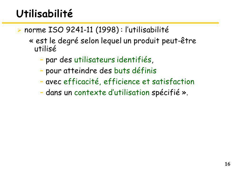 16 Utilisabilité norme ISO 9241-11 (1998) : lutilisabilité « est le degré selon lequel un produit peut-être utilisé –par des utilisateurs identifiés, –pour atteindre des buts définis –avec efficacité, efficience et satisfaction –dans un contexte dutilisation spécifié ».