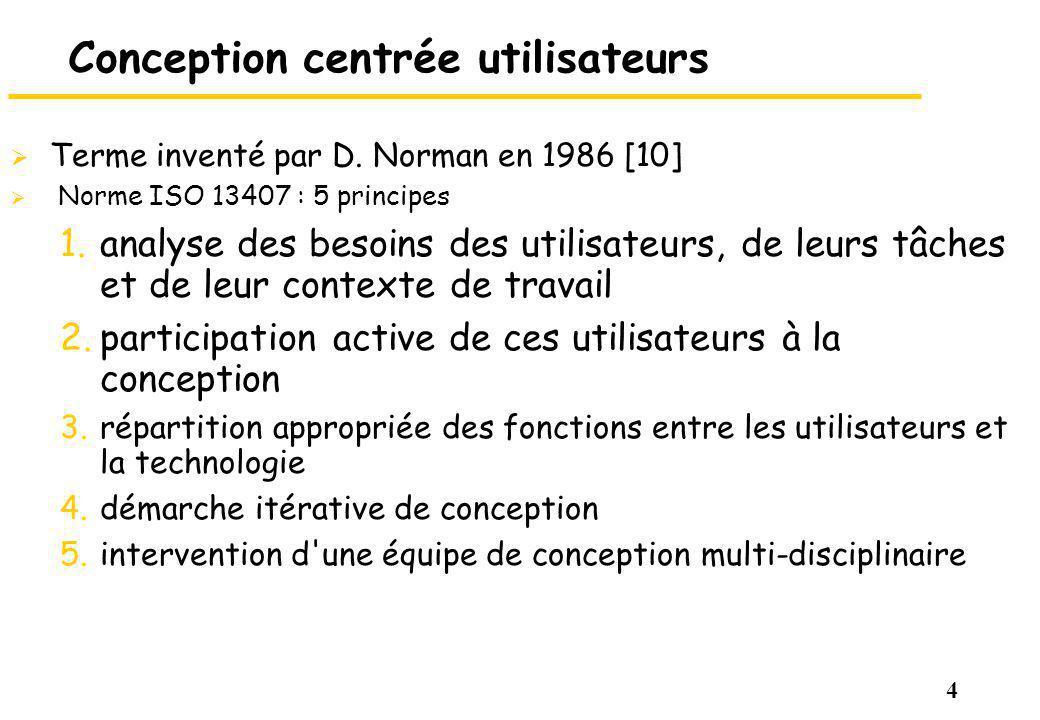 4 Conception centrée utilisateurs Terme inventé par D.