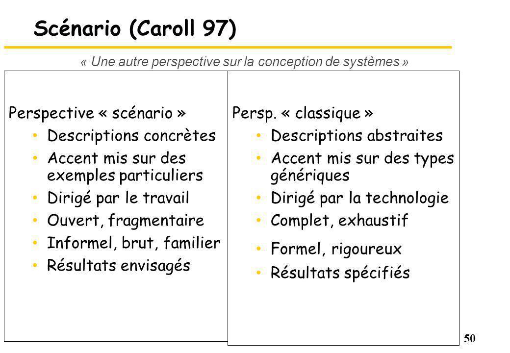 50 Scénario (Caroll 97) Perspective « scénario » Descriptions concrètes Accent mis sur des exemples particuliers Dirigé par le travail Ouvert, fragmentaire Informel, brut, familier Résultats envisagés Persp.